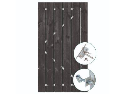 Zwart grenen poort 180 cm inclusief hang & sluitwerk