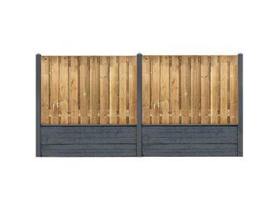 Rotsmotief grenen hout beton schutting pakket