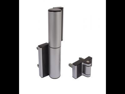 Compact scharnier en poortsluiter in één zilver